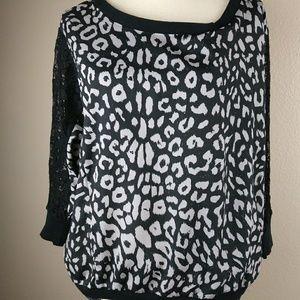 Ali & Kris Black Grey Leopard Print Lace Sleeve To